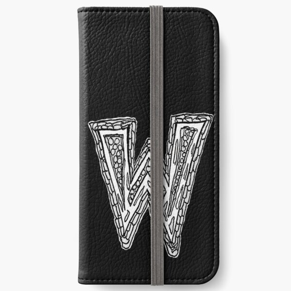Upper case black and white alphabet Letter W iPhone Wallet