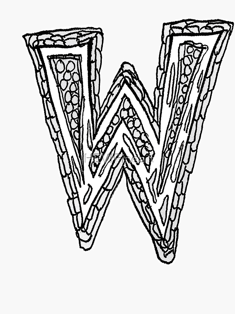 Upper case black and white alphabet Letter W by HEVIFineart