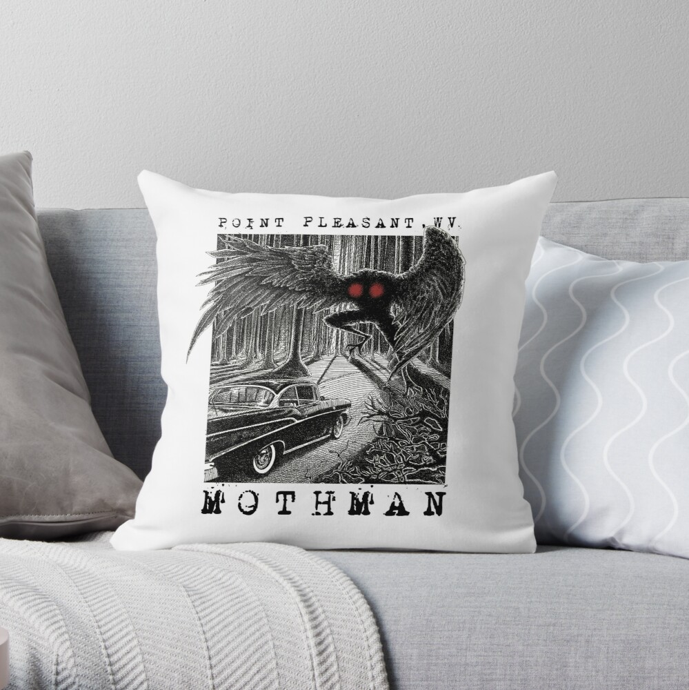 Mothman Encounter - Point Pleasant, WV Cryptid Gift Throw Pillow