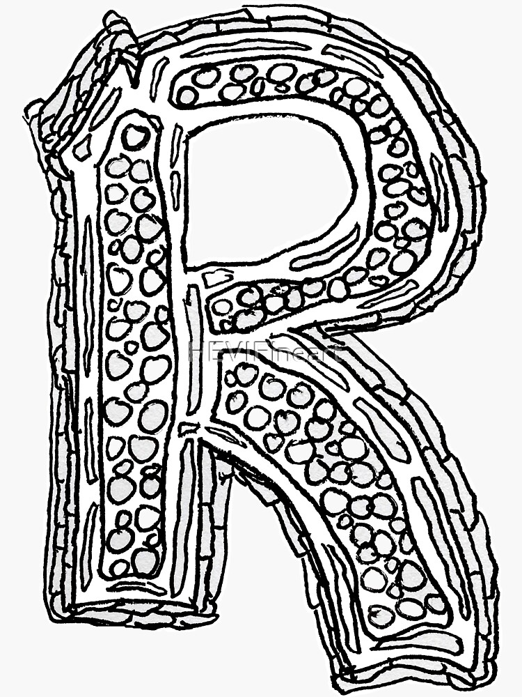 Upper case black and white alphabet Letter R by HEVIFineart