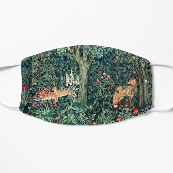 VERDURE, ANIMAUX FORESTIERS Renard et lièvres Tapisserie florale bleu-vert Masque sans plis