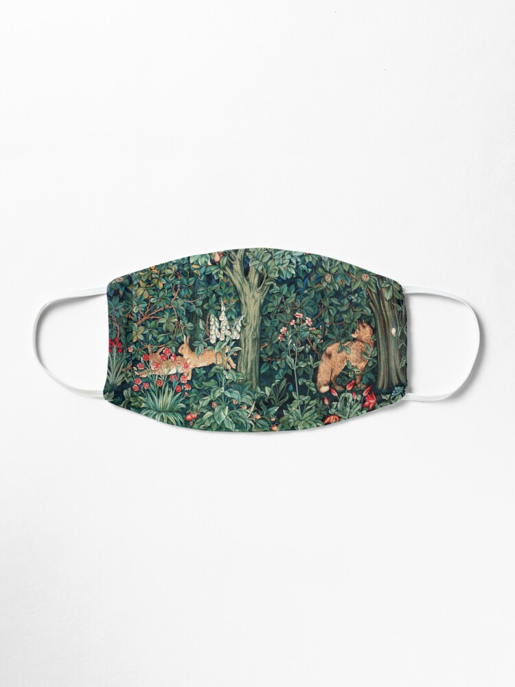 Alternate view of GREENERY, FOREST ANIMALS Fox and Hares Blue Green Floral Tapestry Mask