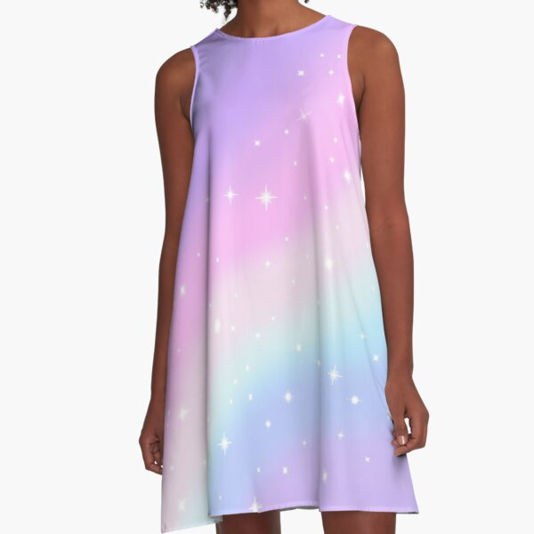 Kawaii Rainbow Magic A-Line Dress