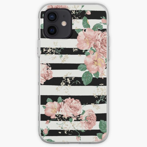 VINTAGE FLORAL ROSES BLACK AND WHITE STRIPES iPhone Soft Case