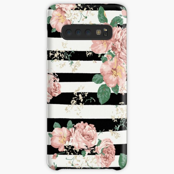 VINTAGE FLORAL ROSES BLACK AND WHITE STRIPES Samsung Galaxy Snap Case