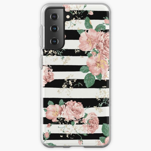 VINTAGE FLORAL ROSES BLACK AND WHITE STRIPES Samsung Galaxy Soft Case