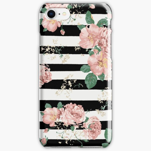 VINTAGE FLORAL ROSES BLACK AND WHITE STRIPES iPhone Snap Case