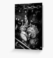 Black & White Steampunk Engine Greeting Card