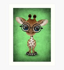 Cute Curious Baby Giraffe Wearing Glasses on Green Art Print