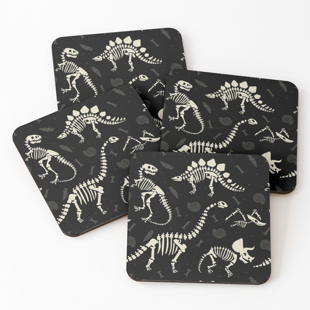 Dinosaur Fossils in Black Coasters (Set of 4)