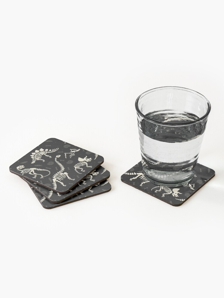 Alternate view of Dinosaur Fossils in Black Coasters (Set of 4)