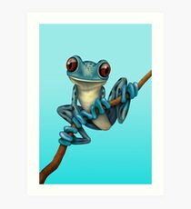 Cute Blue Tree Frog on a Branch Kunstdruck