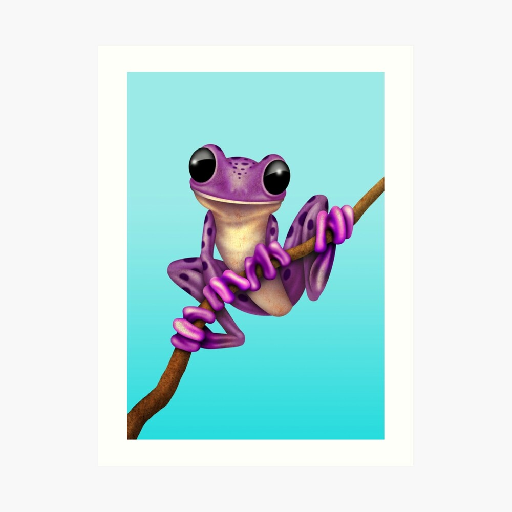 Cute Purple Tree Frog on a Branch Kunstdruck