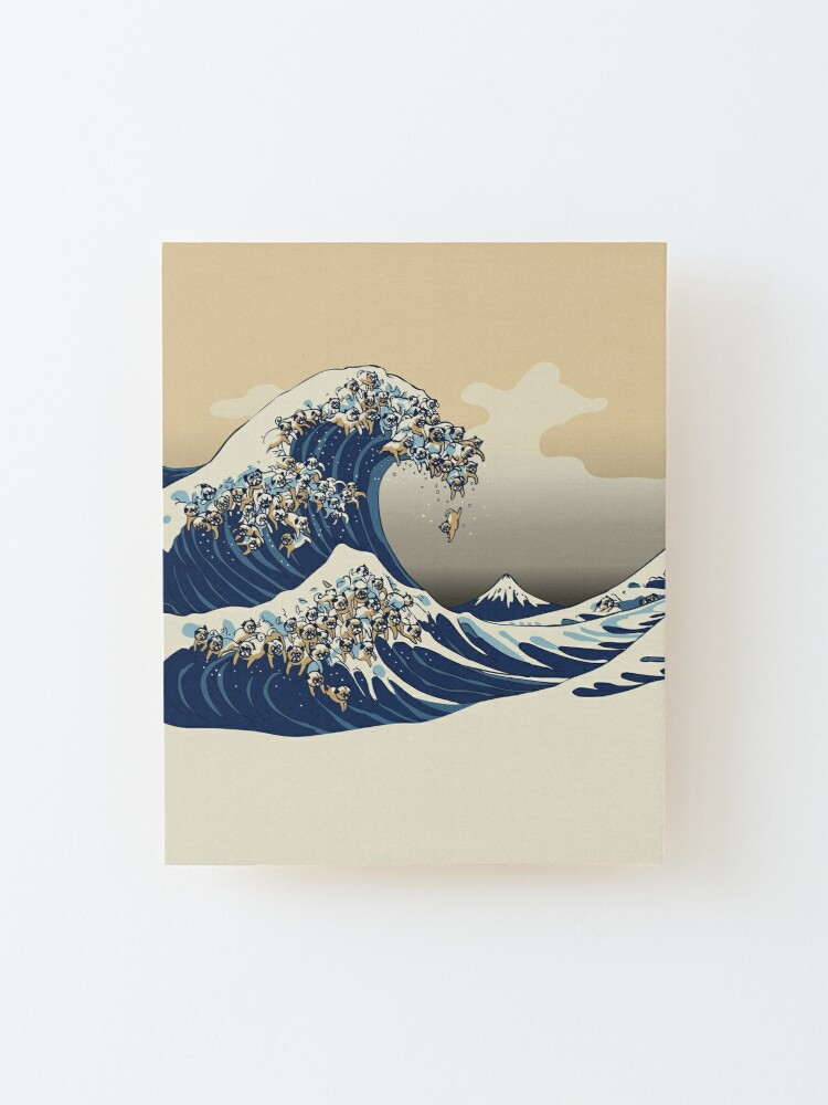 Alternate view of The Great Wave of Pugs Vanilla Sky Mounted Print