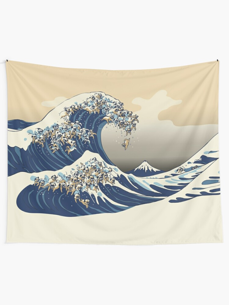 Alternate view of The Great Wave of Pugs Vanilla Sky Tapestry