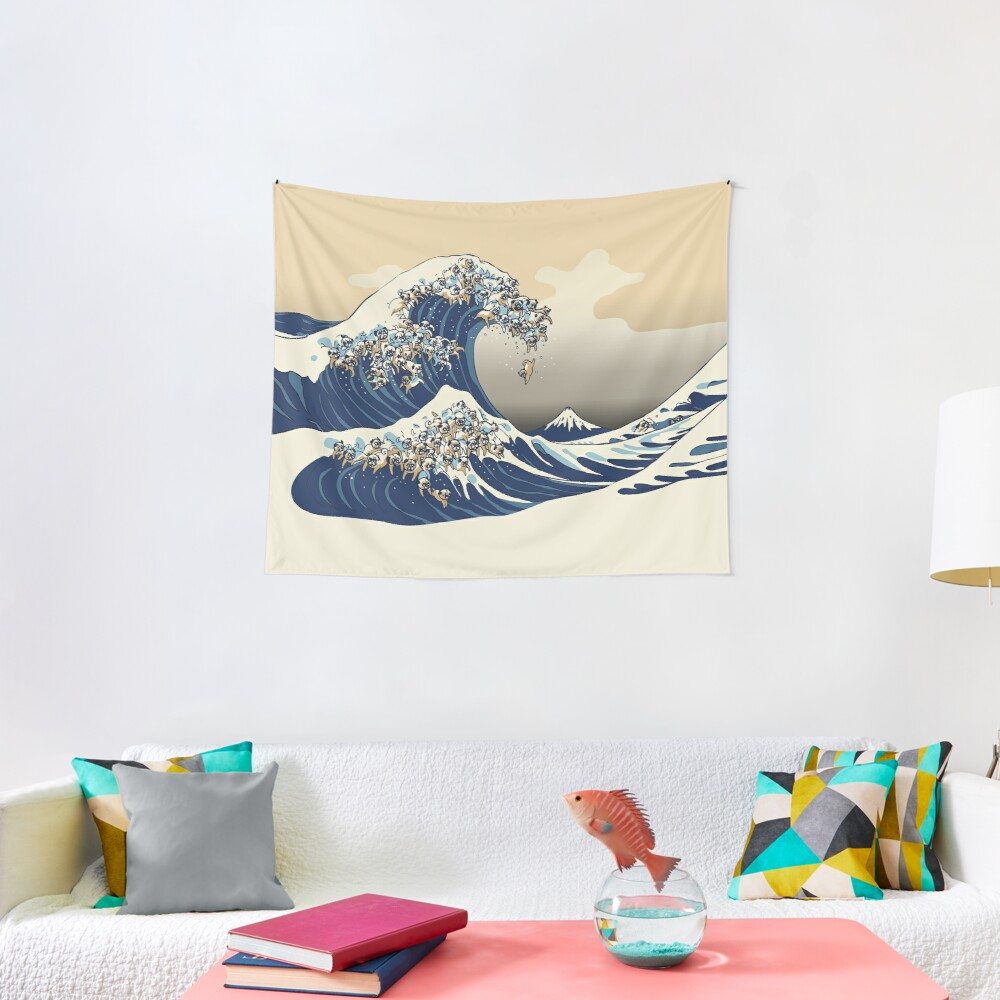 The Great Wave of Pugs Vanilla Sky Tapestry