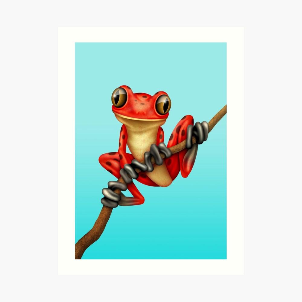 Cute Red Tree Frog on a Branch Kunstdruck