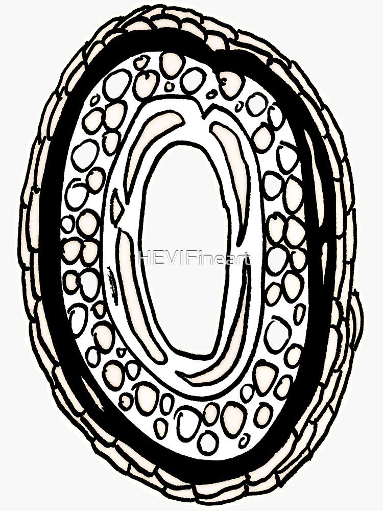 Upper case black and white alphabet Letter O by HEVIFineart