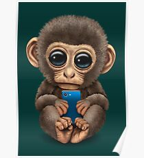 cute baby monkey holding a blue cell phone poster