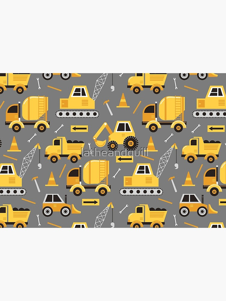 Construction Trucks on Gray by latheandquill