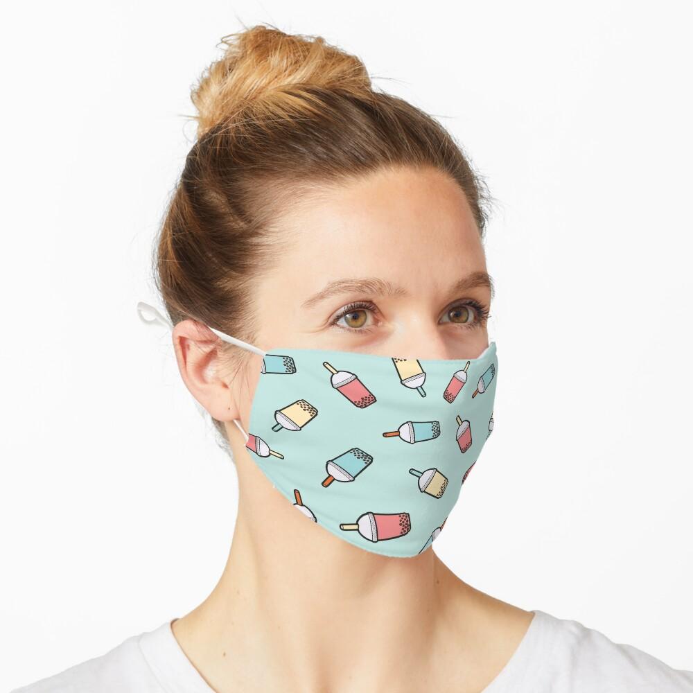 Bubble Tea Pattern in Mint  Mask