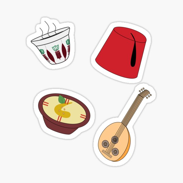Middle East Starter Pack - Arabic coffee, tarboosh hat, hummus, oud instrument Sticker