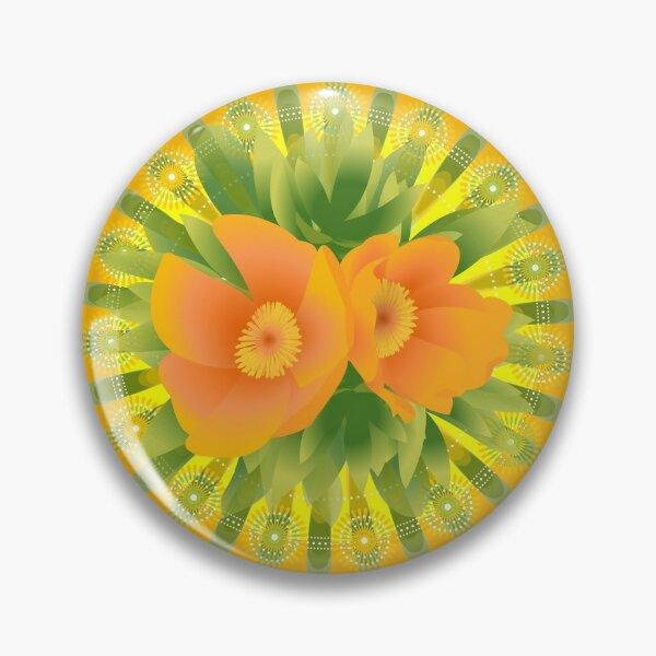 Bright Retroish Peonies Pin