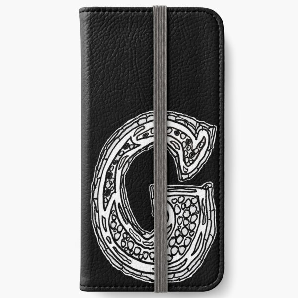Upper case black and white alphabet Letter G iPhone Wallet