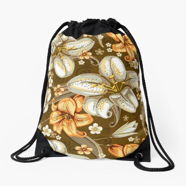 leo • theo | Trumpet flowers Drawstring Bag