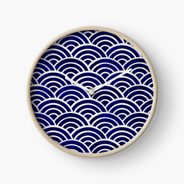 Japanese Seigaiha Wave – Navy Palette Clock