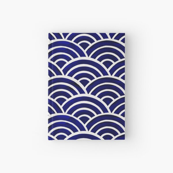 Japanese Seigaiha Wave – Navy Palette Hardcover Journal