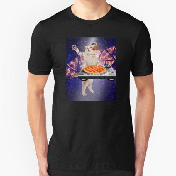 pizza cat space Dj Slim Fit T-Shirt