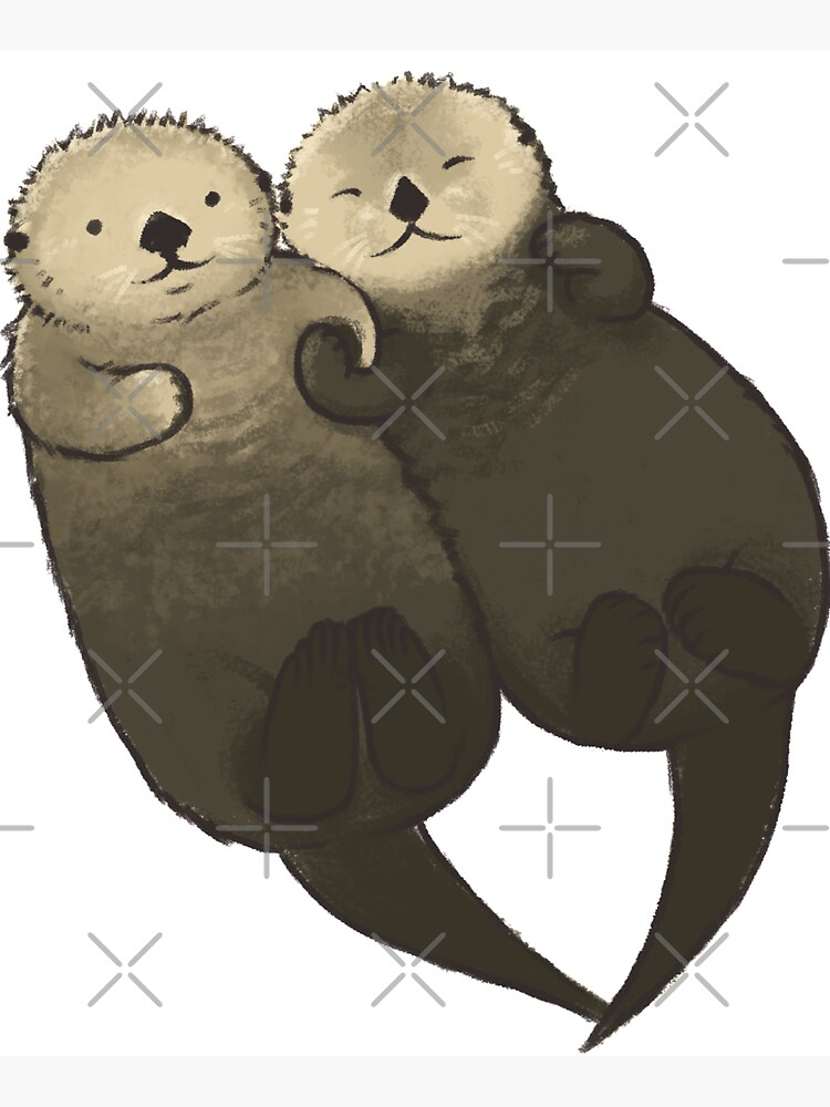 Significant Otters - Otters Holding Hands by StudioMarimo