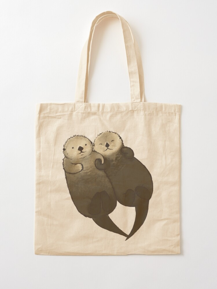 Alternate view of Significant Otters - Otters Holding Hands Tote Bag