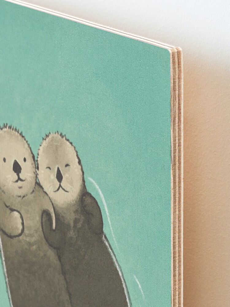 Alternate view of Significant Otters - Otters Holding Hands Mounted Print