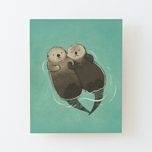 Significant Otters - Otters Holding Hands Wood Mounted Print