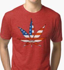 Marijuana Leaf American Flag Tri-blend T-Shirt
