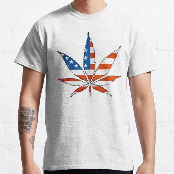 Marijuana Leaf American Flag Classic T-Shirt