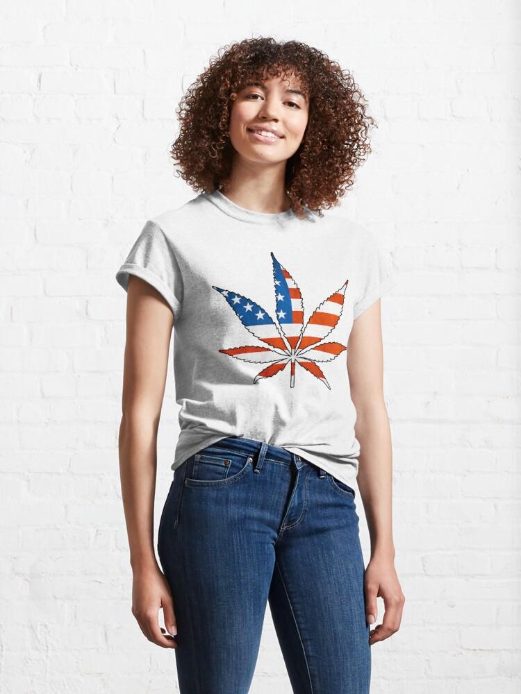 Alternate view of Marijuana Leaf American Flag Classic T-Shirt