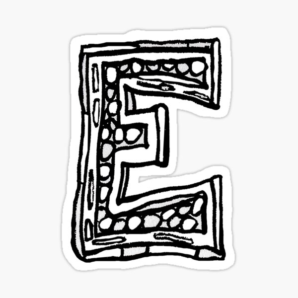 Upper case black and white alphabet Letter E Sticker