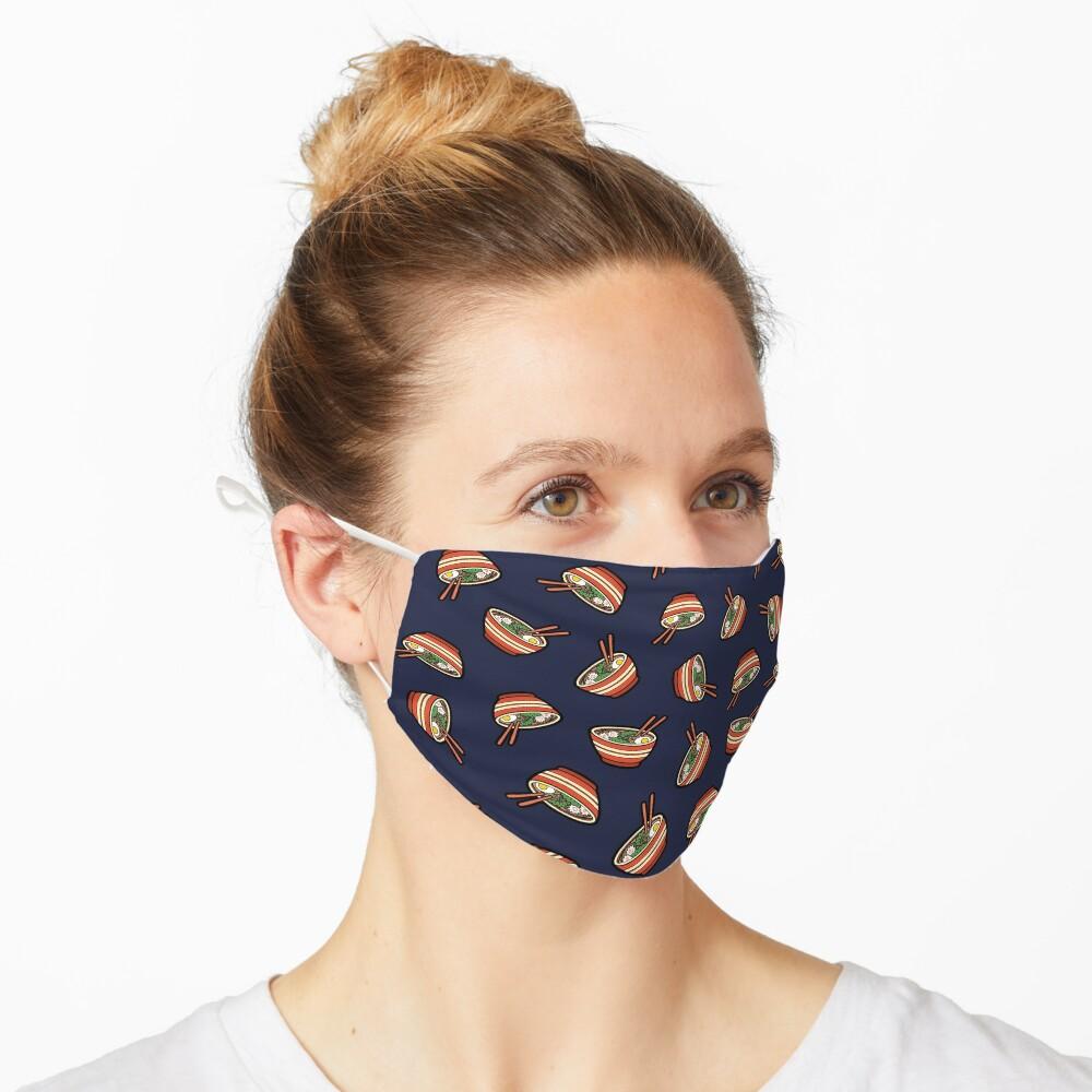 Ramen Bowl Pattern in Dark Blue Mask