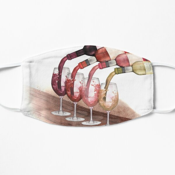 Watercolor red, white and rose wines pouring from bottles into glasses standing on a wooden table Mask