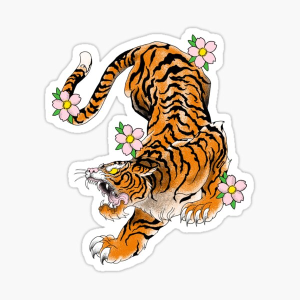 tiger japan old school Sticker