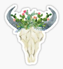 Bull skull with cacti crown - hand painted watercolor Sticker