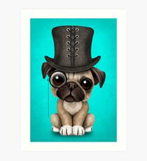 Cute Pug Puppy with Monocle and Top Hat on Blue Art Print