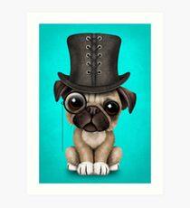Lámina artística Lindo perrito Pug con monóculo y sombrero de copa en azul