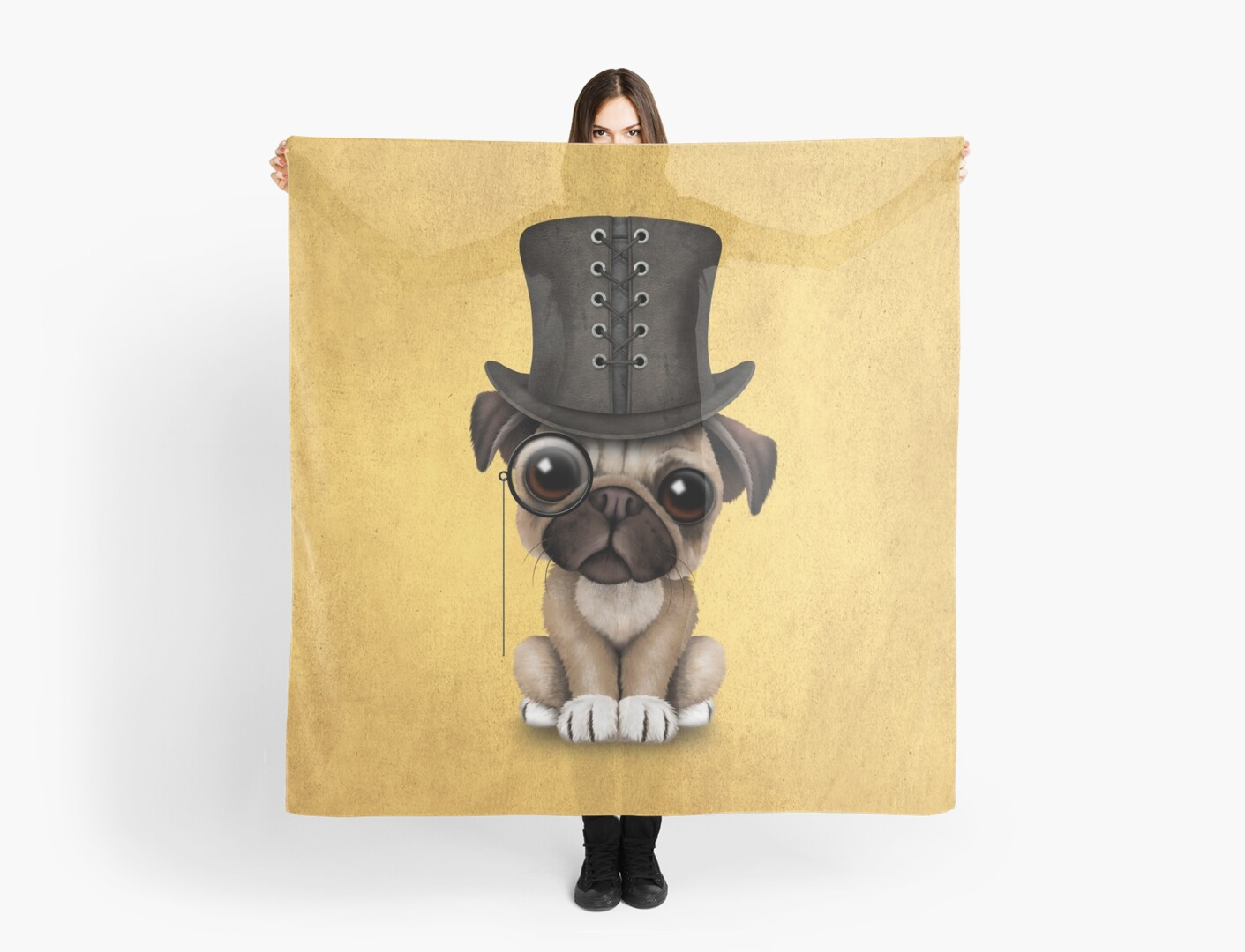 bc634da8cc1 Cute Pug Puppy with Monocle and Top Hat on Yellow