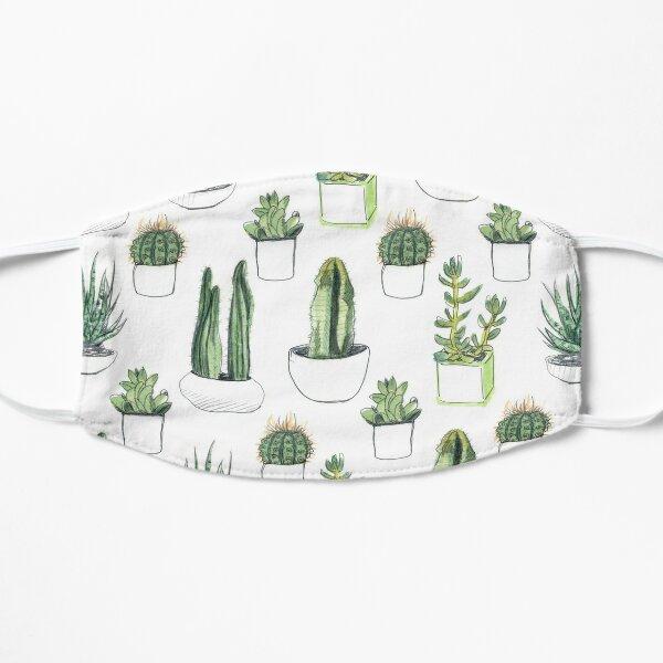 Watercolour cacti & succulents Flat Mask