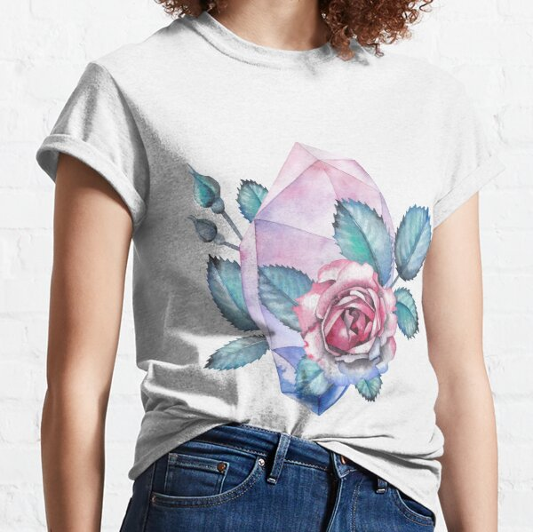 Cute watercolor collection of roses and crystals Classic T-Shirt