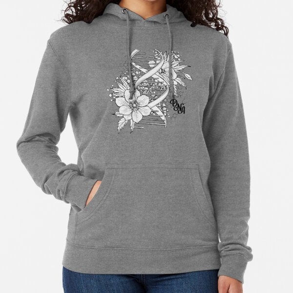 Graphic DNA structure with floral design Lightweight Hoodie